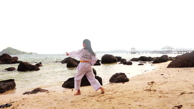 vídeos de stock, filmes e b-roll de praticando artes marciais ao ar livre na praia - karate