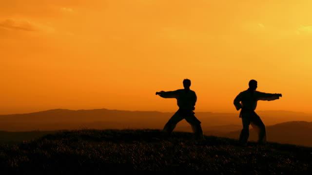 hd crane: practising martial arts outdoors - taekwondo stock videos & royalty-free footage