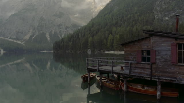 pragser wildsee, lake braies, italy - wood material stock videos & royalty-free footage