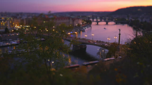 prague and its bridges after sunset - tilt shift stock videos and b-roll footage