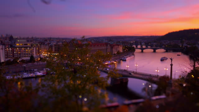 prague and its bridges after sunset - repubblica ceca video stock e b–roll