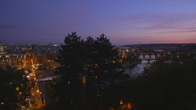 Prague And Its Bridges At Blue Hour