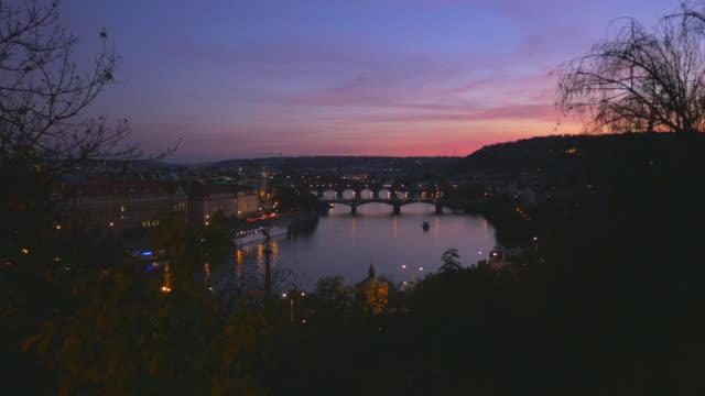 Prague And Its Bridges At Dusk