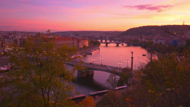 prague and its bridges at sunset - prague stock videos & royalty-free footage