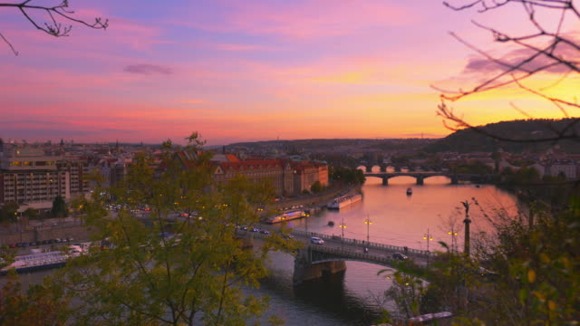 prague and its bridges at sunset - charles bridge stock videos & royalty-free footage