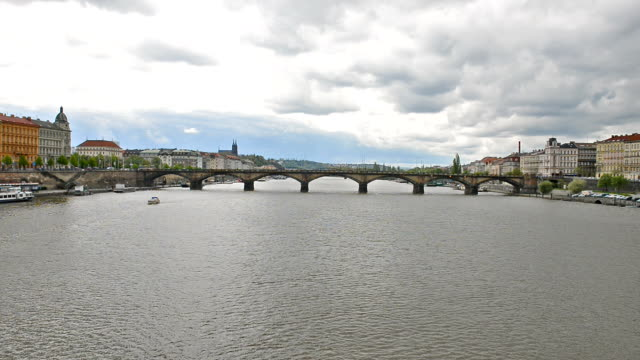prague architecture and vltava river in spring - river vltava stock videos & royalty-free footage