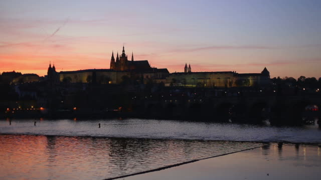 prague at dusk ,czech repubblic - charles bridge stock videos and b-roll footage