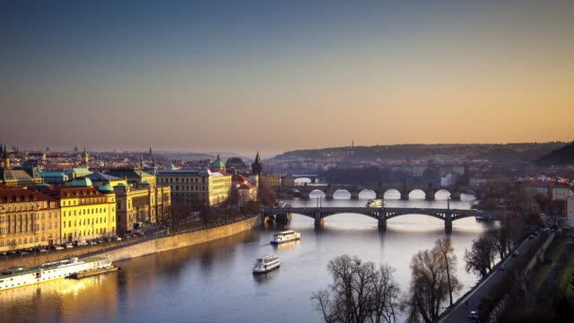 prague at sunset - time lapse - charles bridge stock videos & royalty-free footage