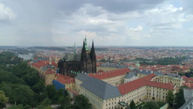 prague castle aerial drone view of the castle in prague, czech republic. - prague stock videos & royalty-free footage