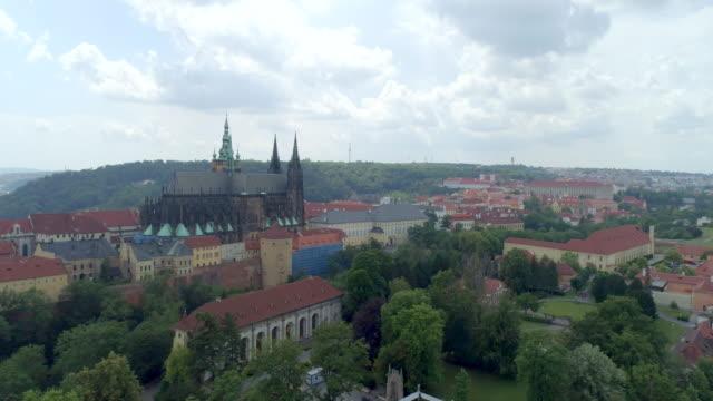 Prague Castle aerial drone view of the castle in Prague, Czech Republic.