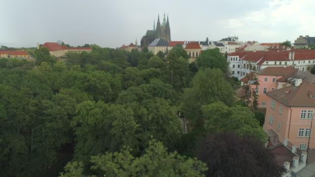 Prague Castle and park, aerial drone view of the castle in Prague, Czech Republic.