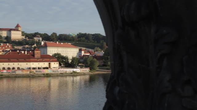 prague castle and the vltava from charles bridge, prague, czech republic, europe - stare mesto stock videos & royalty-free footage