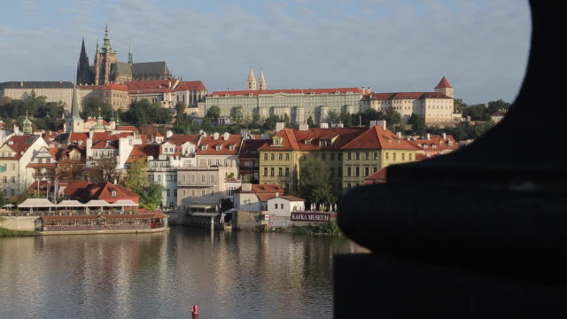 prague castle and the vltava from charles bridge, prague, czech republic, europe - hradcany castle stock videos and b-roll footage