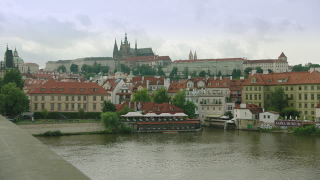 prague castle from charles bridge - hradcany square stock videos and b-roll footage