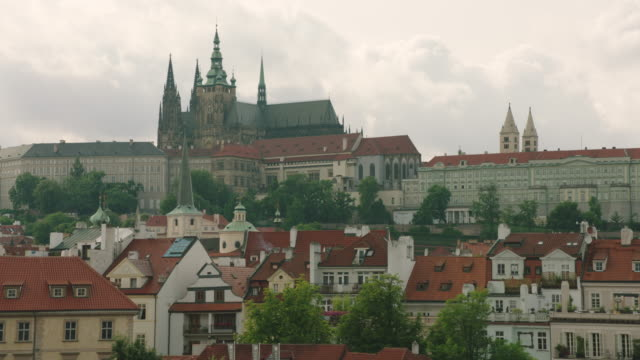 prague castle from charles bridge - hradcany castle stock videos and b-roll footage
