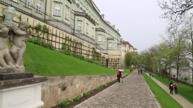 prague castle, view of the castle gardens - hradcany castle stock videos and b-roll footage
