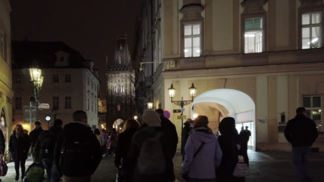 prague celetna and powder gate (prasna brana) at night - prague stock videos & royalty-free footage