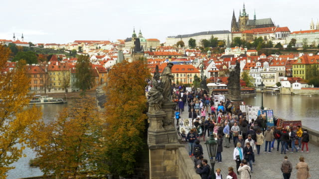 prague charles bridge and hradcany castle - charles bridge stock videos and b-roll footage
