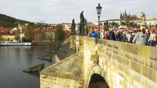 prague charles bridge and hradcany castle - hradcany castle stock videos and b-roll footage