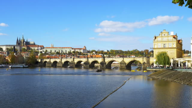 prague charles bridge and hradcany castle - charles bridge stock videos & royalty-free footage