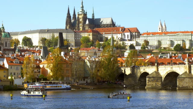 prague charles bridge and hradcany castle with st. vitus cathedral - hradcany castle stock videos and b-roll footage