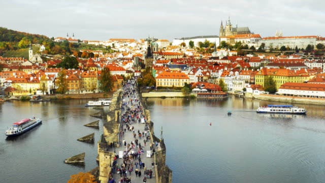 prague charles bridge and hradcany hill cinemagraph - charles bridge stock videos & royalty-free footage