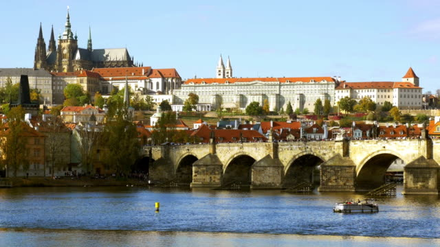 prague charles bridge and hradcany hill cinemagraph - charles bridge stock videos and b-roll footage