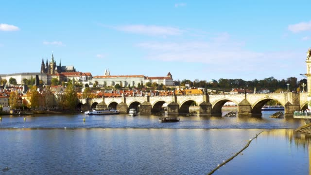 prague charles bridge and hradcany hill - hradcany castle stock videos and b-roll footage