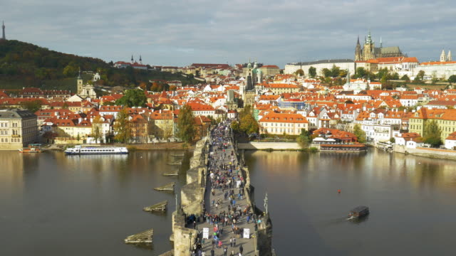 prague charles bridge and hradcany hill - stare mesto stock videos & royalty-free footage