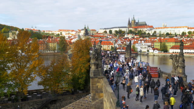 prague charles bridge and hradcany hill - hradcany stock videos and b-roll footage
