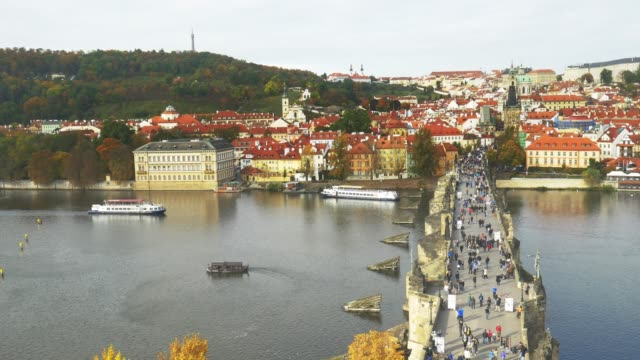 prague charles bridge and hradcany hill - charles bridge stock videos & royalty-free footage