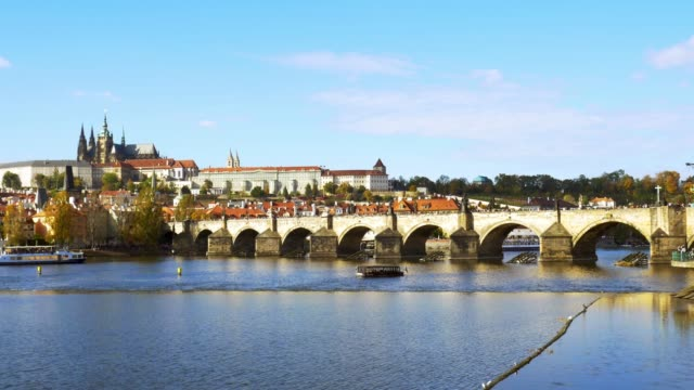 prague charles bridge and hradcany hill - prague bridge stock videos and b-roll footage