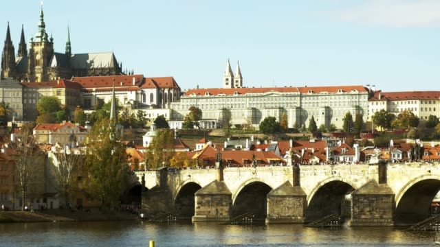 prague charles bridge and hradcany hill - charles bridge stock videos & royalty-free footage