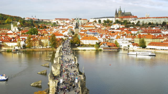 prague charles bridge and hradcany - river vltava stock videos & royalty-free footage