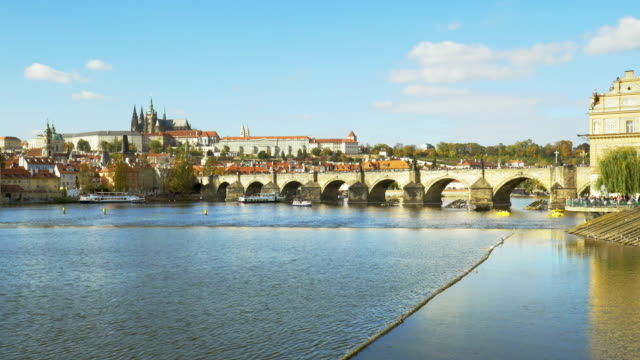 prague charles bridge and hradcany - mala strana stock videos and b-roll footage