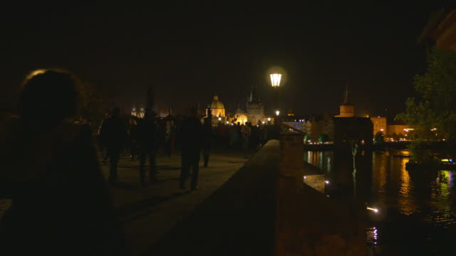 prague charles bridge at night - stare mesto stock videos & royalty-free footage