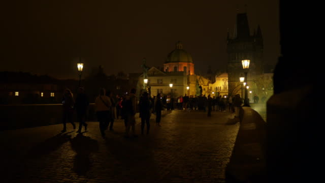 prague charles bridge at night - old town bridge tower stock videos and b-roll footage