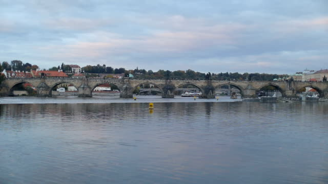 Prague Charles Bridge over Vltava River
