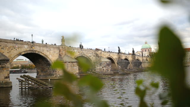 prague charles bridge over vltava river - charles bridge stock videos and b-roll footage