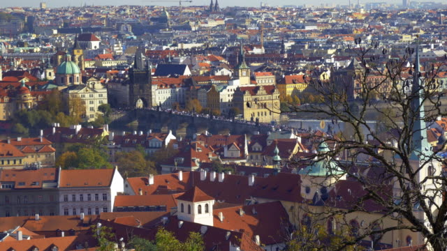 prague city view with charles bridge - stare mesto stock videos and b-roll footage