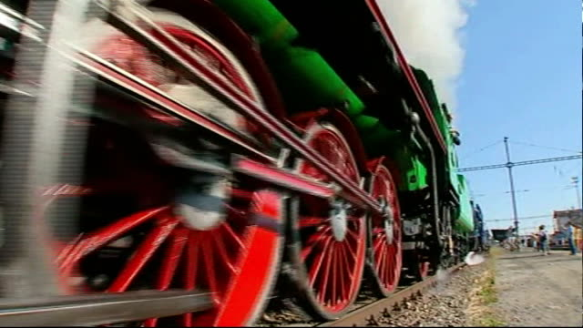 prague ext steam train reenacting journey taken by evacuees england london liverpool street station int winton greeted by surviving evacuees - enacting stock videos & royalty-free footage