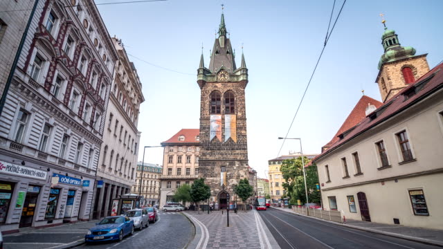 prague heinrichtsturm hyerlapse - prague stock videos & royalty-free footage