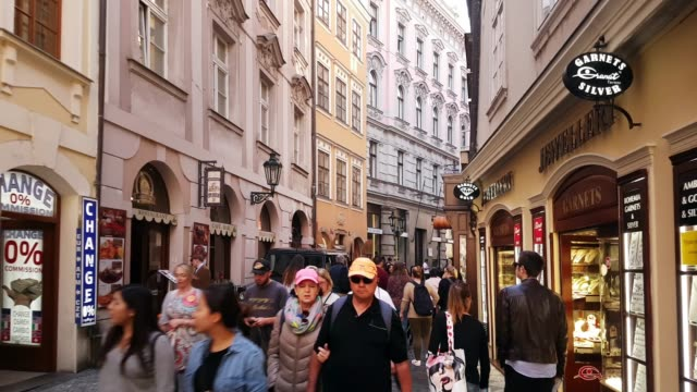 prague karlova street in staré město - city street stock videos & royalty-free footage