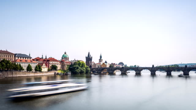 prague moldova hyperlapse with charles bridge - moldova stock videos and b-roll footage