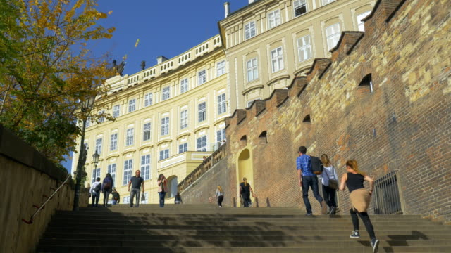prague old castle stairs on hradcany hill - hradcany castle stock videos and b-roll footage