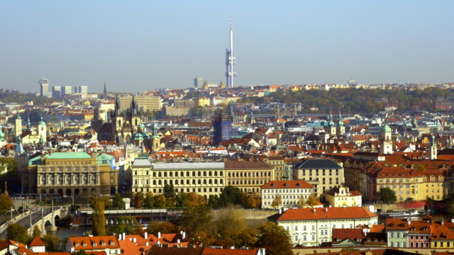 prague old town and the žižkov television tower - ultra high definition television stock videos & royalty-free footage
