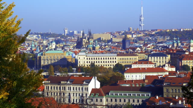 prague old town and the žižkov television tower - stare mesto stock videos & royalty-free footage