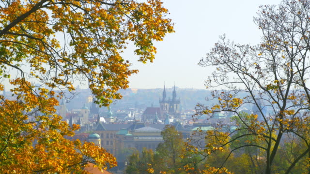 prague old town and tyn church in autumn - stare mesto stock videos & royalty-free footage