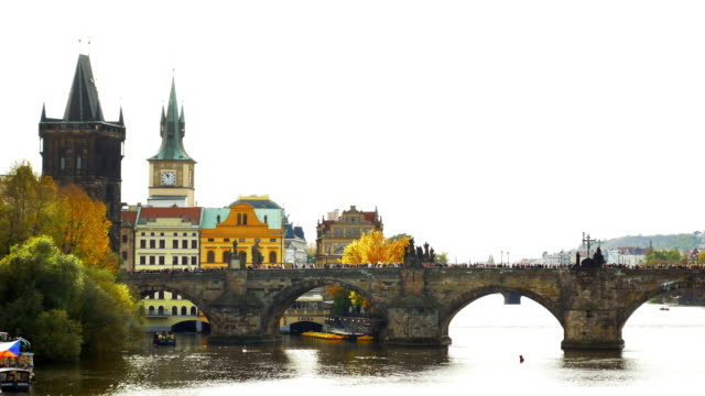 prague old town riverbank and charles bridge - charles bridge stock videos and b-roll footage