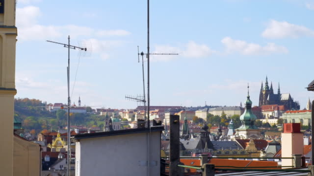 prague old town rooftops and hradcany hill - stare mesto stock videos & royalty-free footage